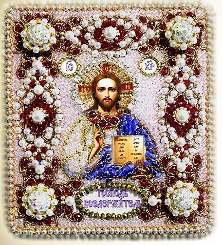 Образа в каменьях оберег с молитвой Господь Вседержитель арт. 77-ю-02