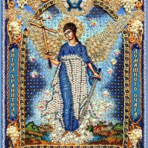Образа в каменьях икона Ангел-хранитель домашнего очага (натуральный жемчуг) арт. 7731