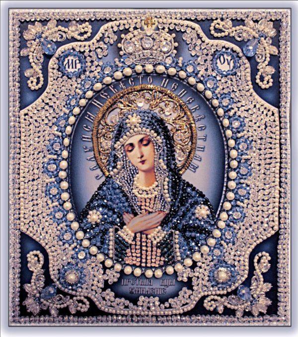 Образа в каменьях икона Богородица Умиление с натуральным жемчугом арт. 7724