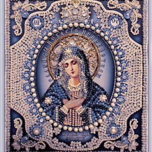 Образа в каменьях икона Богородица Умиление с жемчугом майорика арт. 7725