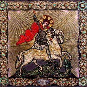 Образа в каменьях икона Георгий Победоносец арт. 7721