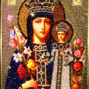 Образа в каменьях икона Богородица Неувядаемый цвет арт. 7707