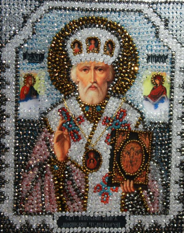 Образа в каменьях икона Николай Чудотворец арт. 7704
