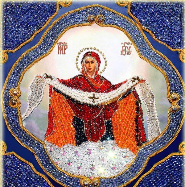 Образа в каменьях икона Покрова Пресвятой Богородицы арт. 7732