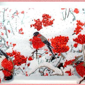Образа в каменьях Снегири арт. 5519