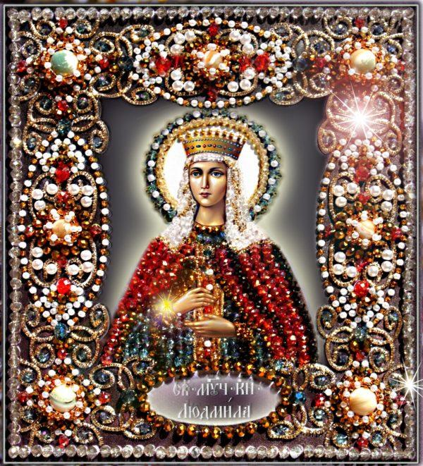 Образа в каменьях икона Святая Людмила арт. 77-и-03