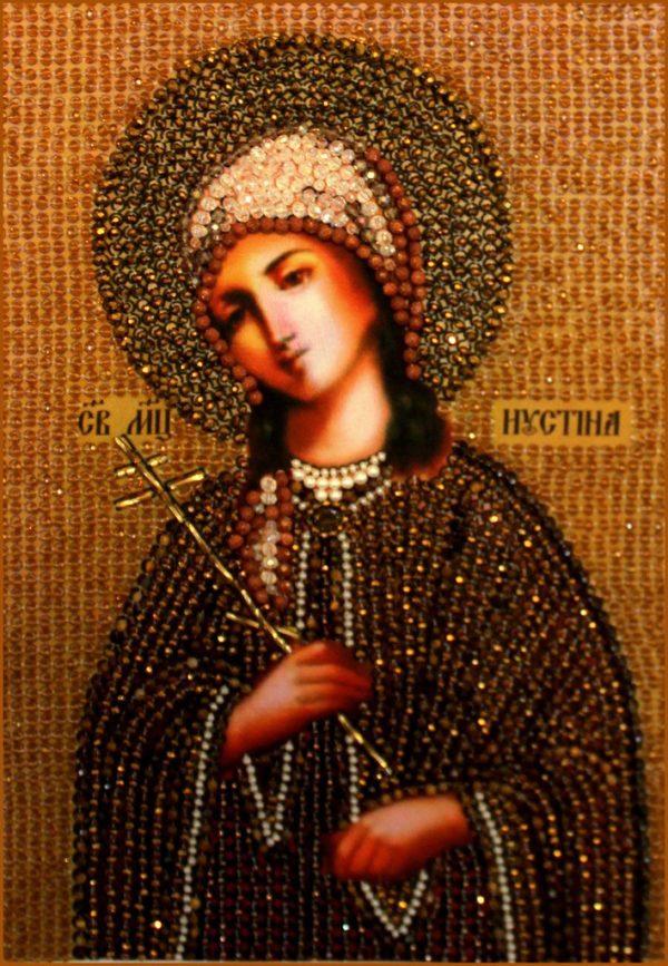 Образа в каменьях икона Святая Устинья арт. 7709