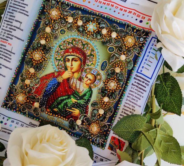 Образа в каменьях икона Богородицы Отрады или Утешения арт. 77-ц-10